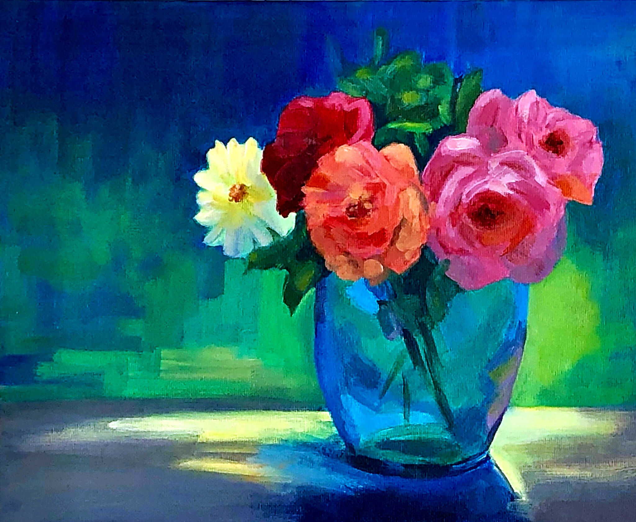 acrylic painting of roses in a vase with green background by artist Shona Jones