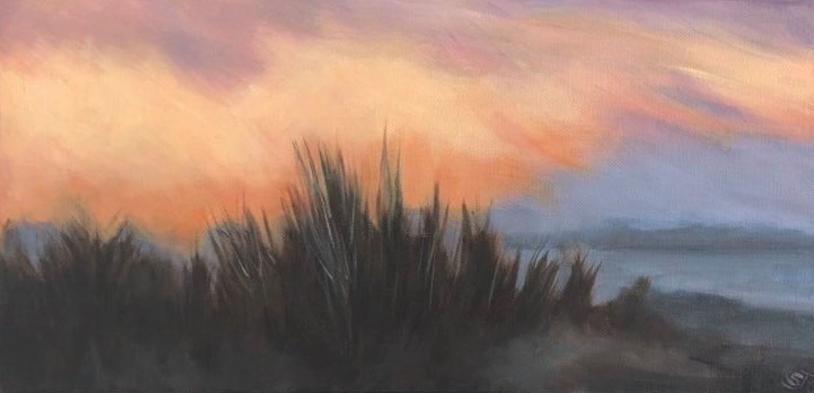 acrylic painting of a beach at sunset by artist Shona Jones