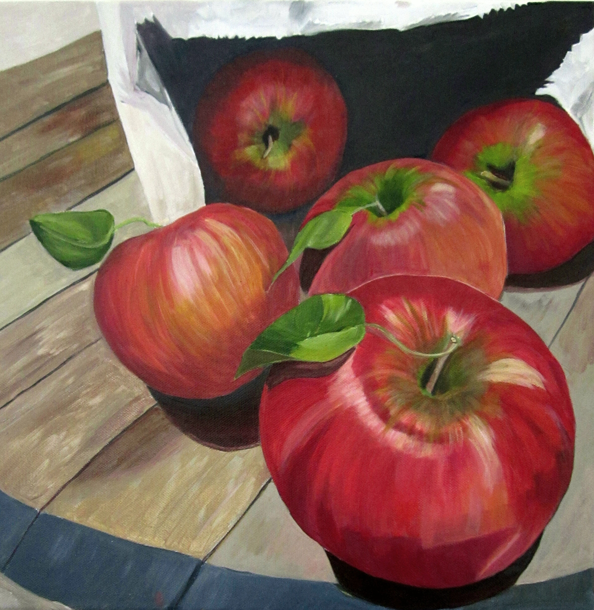 acrylic painting of red delicious apples by artist Shona Jones